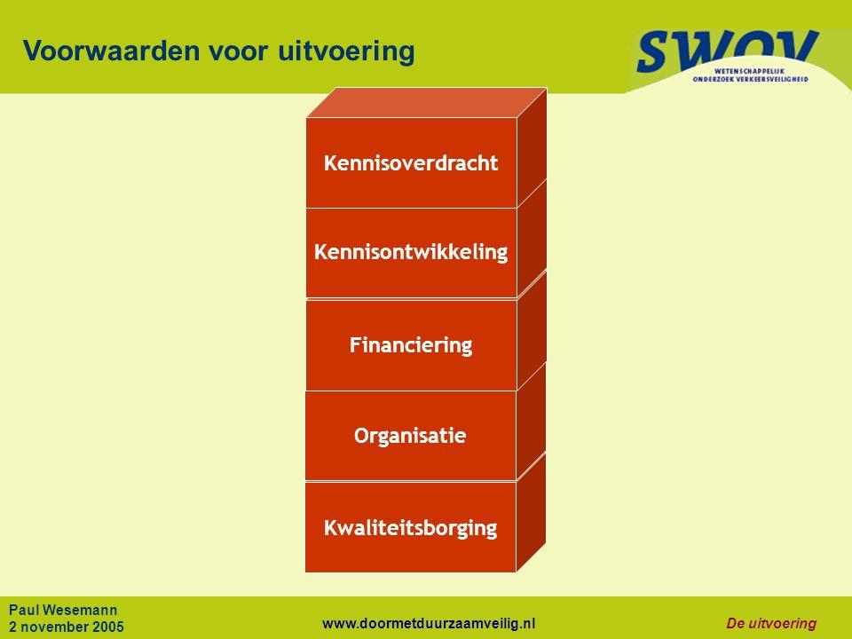 www.doormetduurzaamveilig.nlDe uitvoering Paul Wesemann 2 november 2005 Kwaliteitsborging Organisatie Financiering Kennisontwikkeling Voorwaarden voor uitvoering Kennisoverdracht