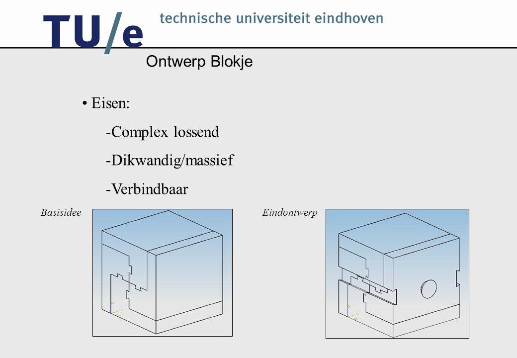 Ontwerp Blokje Eisen: -Complex lossend -Dikwandig/massief -Verbindbaar BasisideeEindontwerp