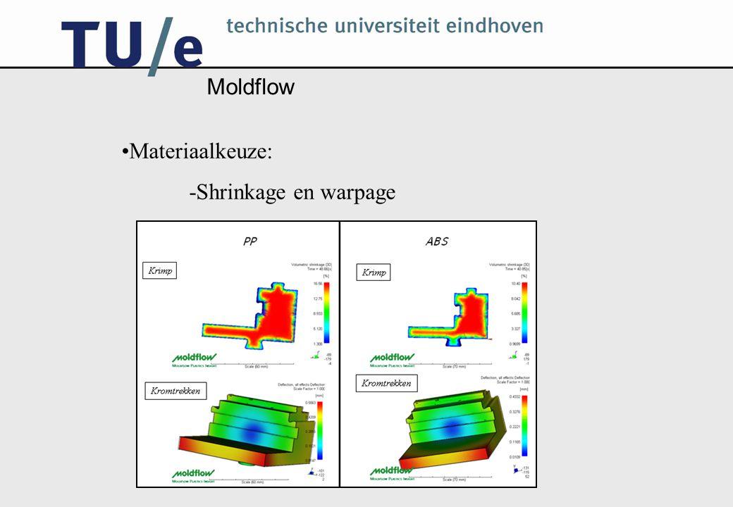 Moldflow Materiaalkeuze: -Shrinkage en warpage