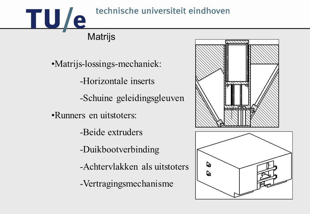 Matrijs Matrijs-lossings-mechaniek: -Horizontale inserts -Schuine geleidingsgleuven Runners en uitstoters: -Beide extruders -Duikbootverbinding -Achte
