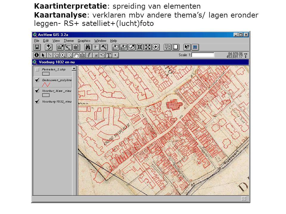 Kaartinterpretatie: spreiding van elementen Kaartanalyse: verklaren mbv andere thema's/ lagen eronder leggen- RS+ satelliet+(lucht)foto