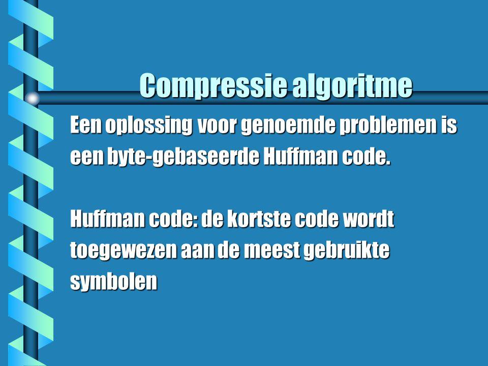 Compressie algoritme Een oplossing voor genoemde problemen is een byte-gebaseerde Huffman code.