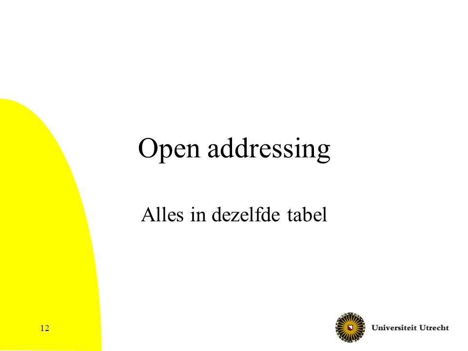 12 Open addressing Alles in dezelfde tabel