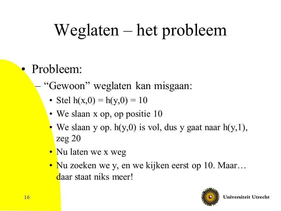 16 Weglaten – het probleem Probleem: – Gewoon weglaten kan misgaan: Stel h(x,0) = h(y,0) = 10 We slaan x op, op positie 10 We slaan y op.