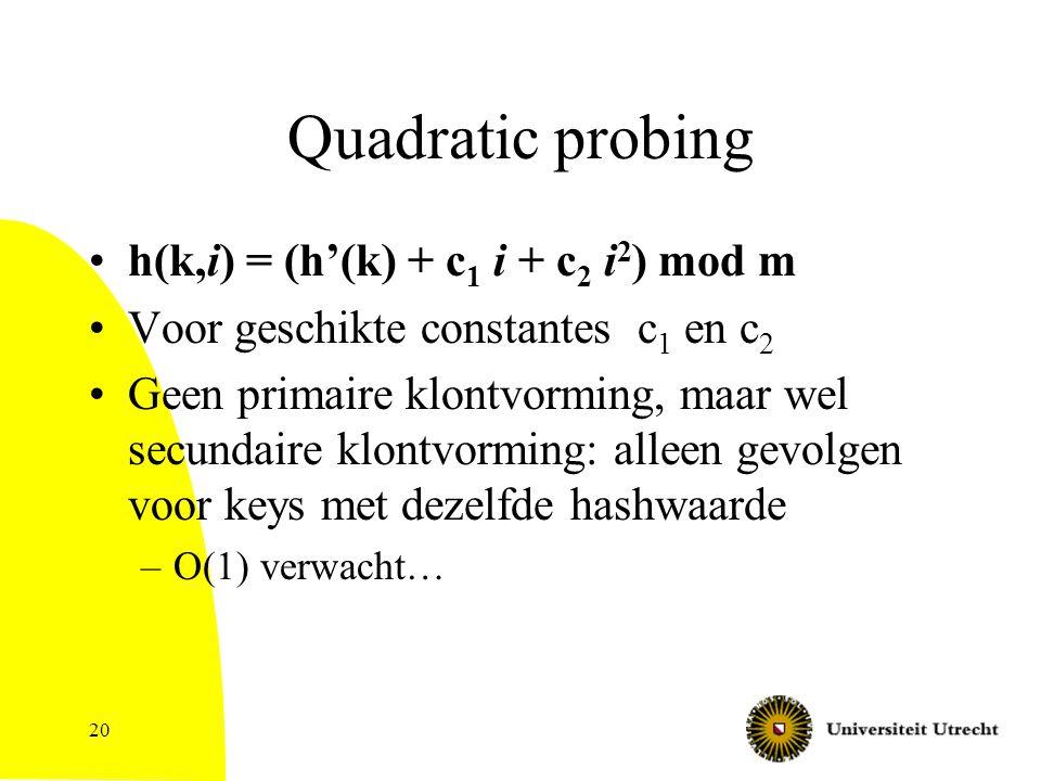 20 Quadratic probing h(k,i) = (h'(k) + c 1 i + c 2 i 2 ) mod m Voor geschikte constantes c 1 en c 2 Geen primaire klontvorming, maar wel secundaire klontvorming: alleen gevolgen voor keys met dezelfde hashwaarde –O(1) verwacht…