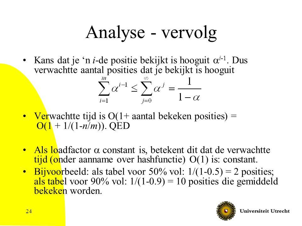 24 Analyse - vervolg Kans dat je 'n i-de positie bekijkt is hooguit  i-1.