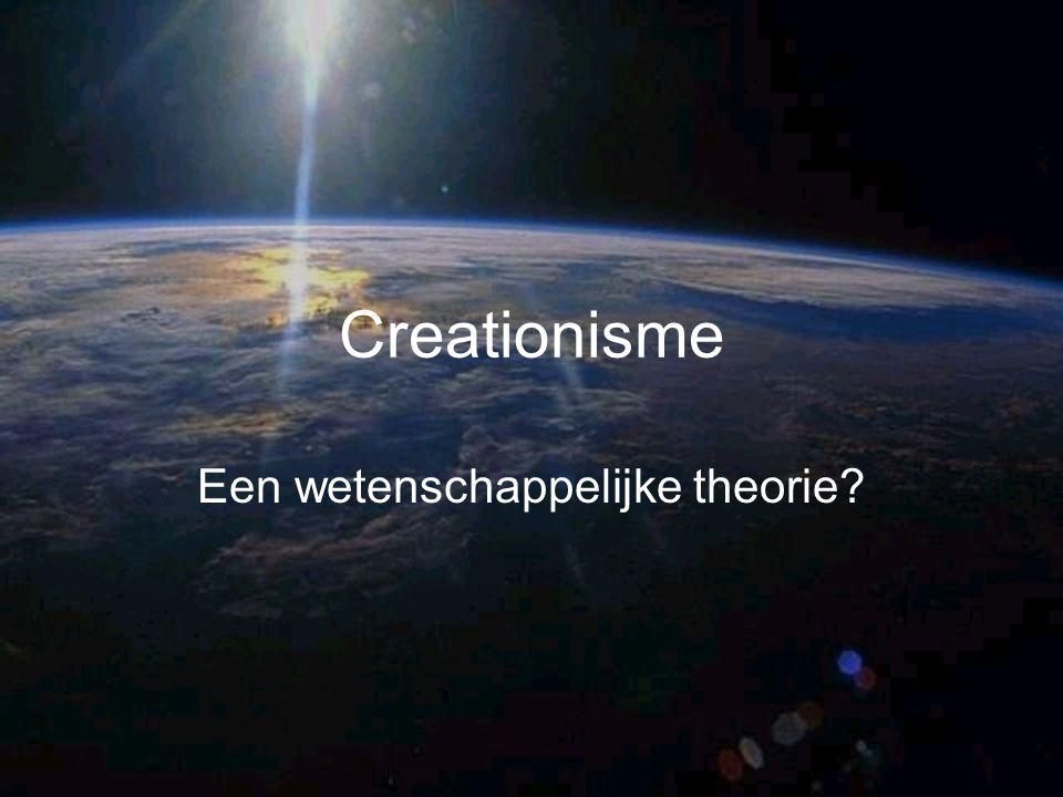 Creationisme God heeft organismen apart geschapen Soorten zijn niet verwant aan elkaar Soorten zijn niet geëvolueerd vanuit gemeenschappelijke voorouders door natuurlijke selectie