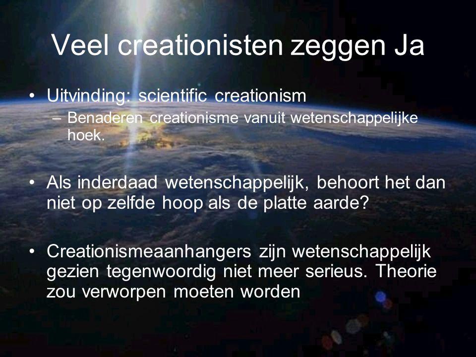 Veel creationisten zeggen Ja Uitvinding: scientific creationism –Benaderen creationisme vanuit wetenschappelijke hoek. Als inderdaad wetenschappelijk,