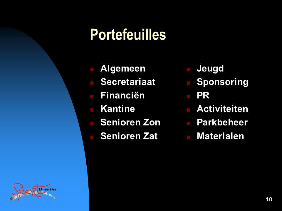10 Portefeuilles Algemeen Secretariaat Financiën Kantine Senioren Zon Senioren Zat Jeugd Sponsoring PR Activiteiten Parkbeheer Materialen