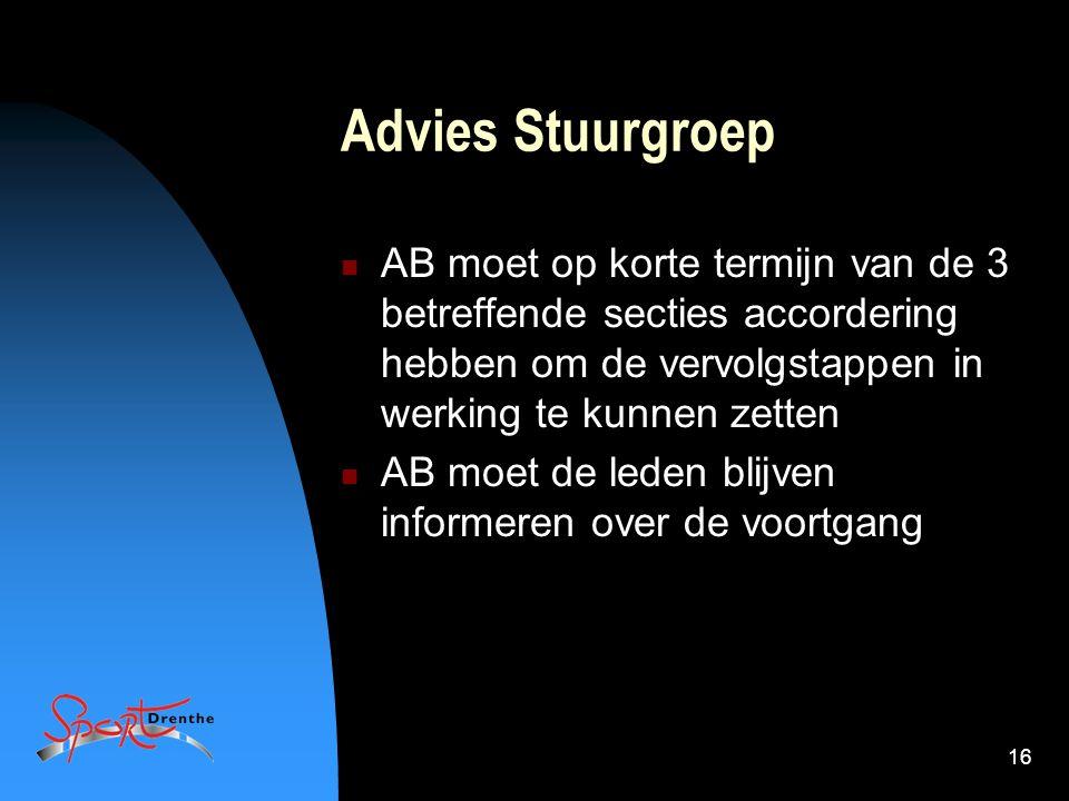 16 Advies Stuurgroep AB moet op korte termijn van de 3 betreffende secties accordering hebben om de vervolgstappen in werking te kunnen zetten AB moet