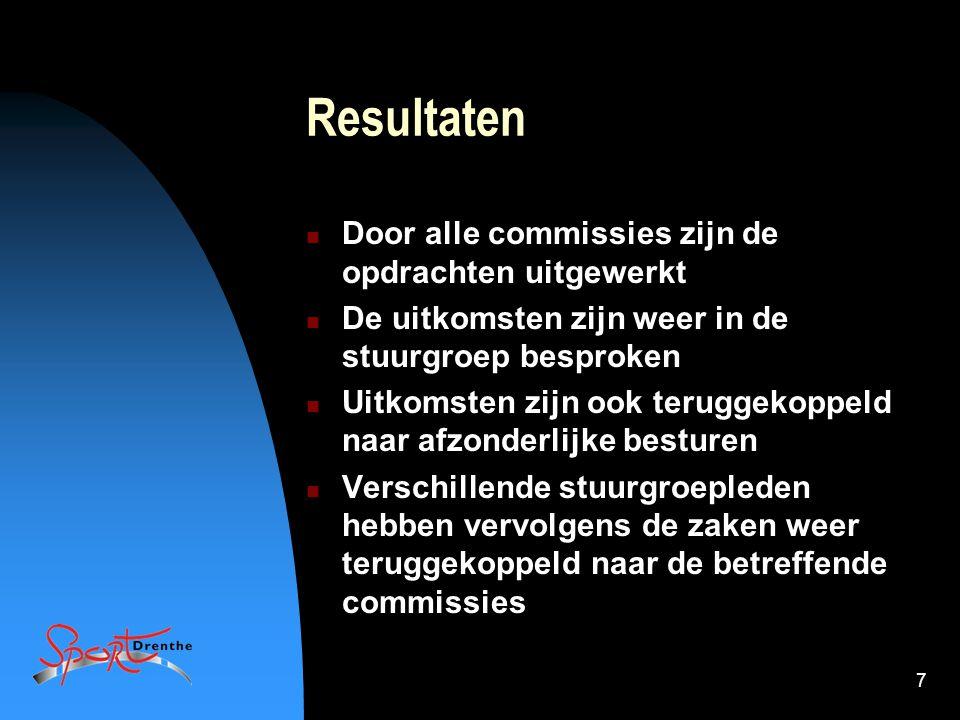 7 Resultaten Door alle commissies zijn de opdrachten uitgewerkt De uitkomsten zijn weer in de stuurgroep besproken Uitkomsten zijn ook teruggekoppeld