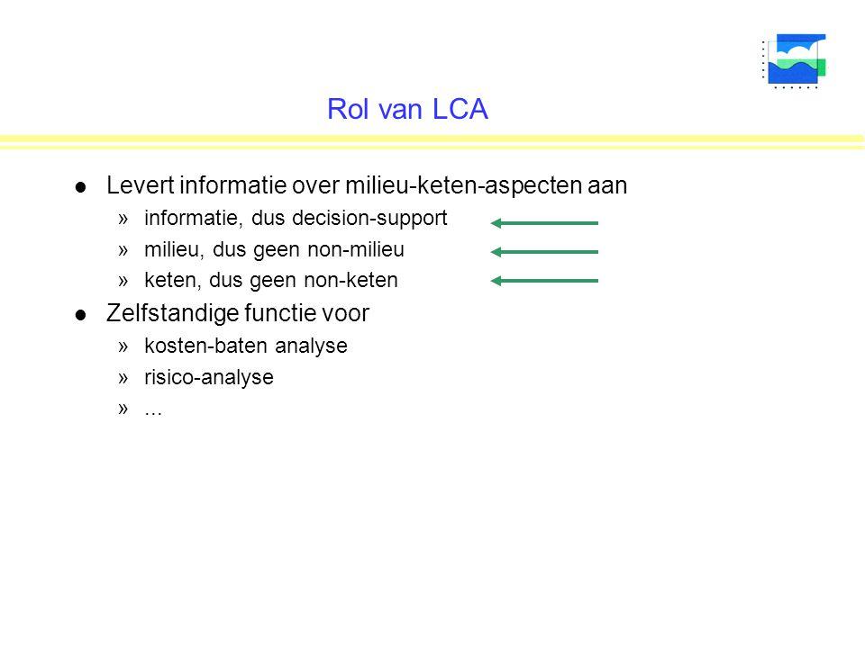 Rol van LCA l Levert informatie over milieu-keten-aspecten aan »informatie, dus decision-support »milieu, dus geen non-milieu »keten, dus geen non-keten l Zelfstandige functie voor »kosten-baten analyse »risico-analyse »...