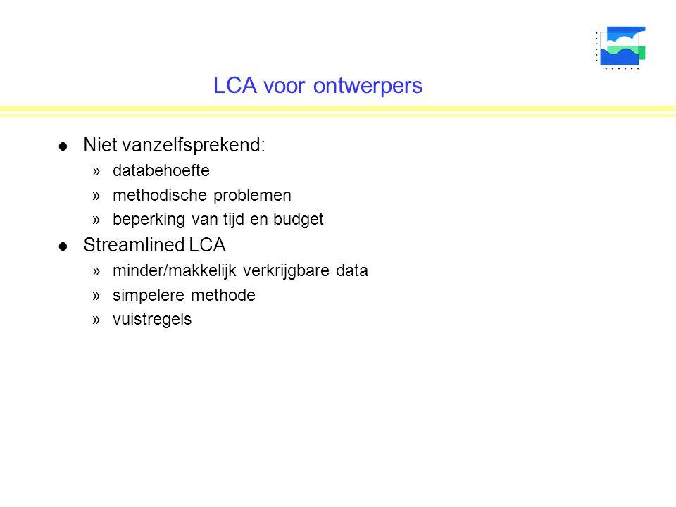 LCA voor ontwerpers l Niet vanzelfsprekend: »databehoefte »methodische problemen »beperking van tijd en budget l Streamlined LCA »minder/makkelijk verkrijgbare data »simpelere methode »vuistregels
