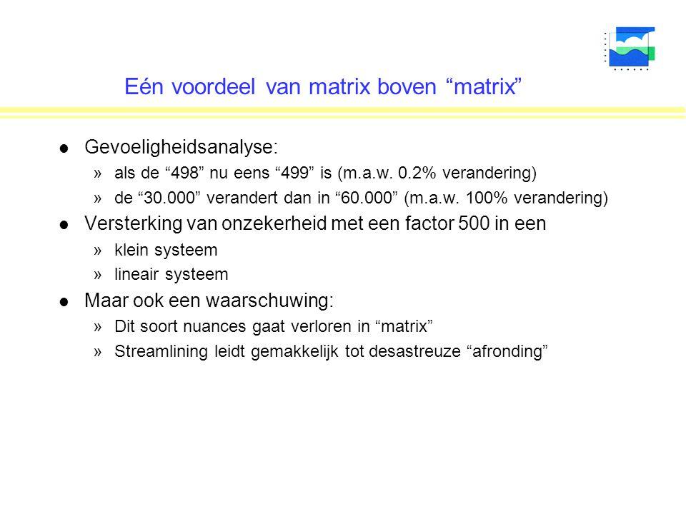 """Eén voordeel van matrix boven """"matrix"""" l Gevoeligheidsanalyse: »als de """"498"""" nu eens """"499"""" is (m.a.w. 0.2% verandering) »de """"30.000"""" verandert dan in"""