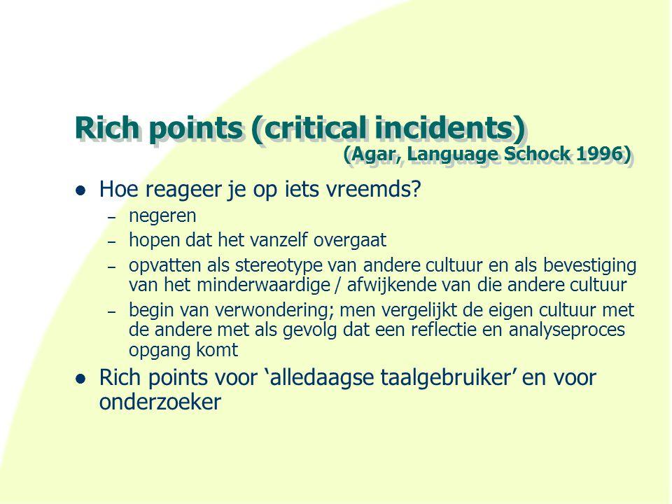 Rich points (critical incidents) (Agar, Language Schock 1996) Hoe reageer je op iets vreemds.