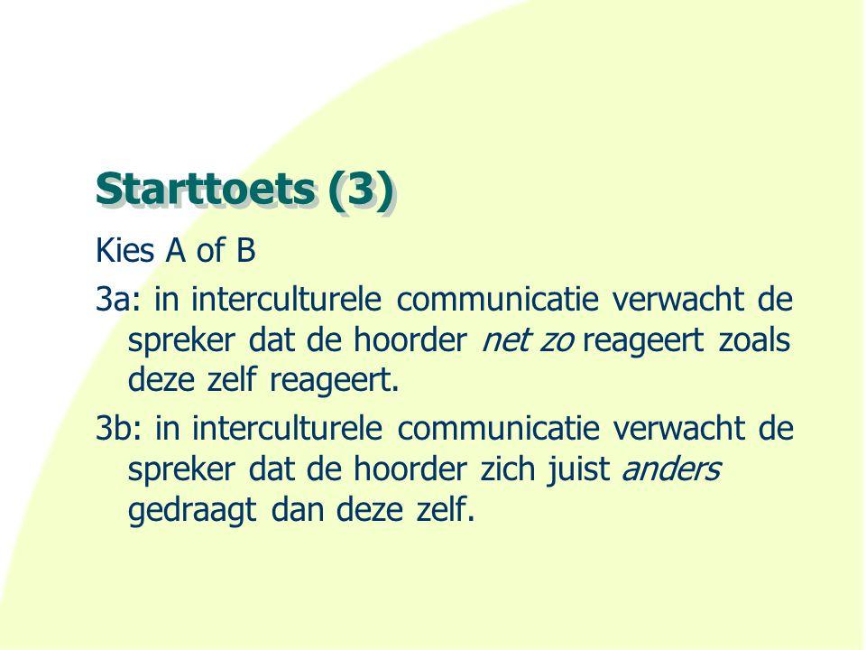 Starttoets (4) Kies A of B 4a: Meer kennis over de andere cultuur garandeert succesvolle interculturele communicatie.