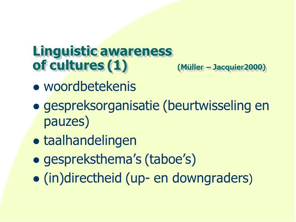 Linguistic awareness of cultures (1) (Müller – Jacquier2000) woordbetekenis gespreksorganisatie (beurtwisseling en pauzes) taalhandelingen gespreksthema's (taboe's) (in)directheid (up- en downgraders )