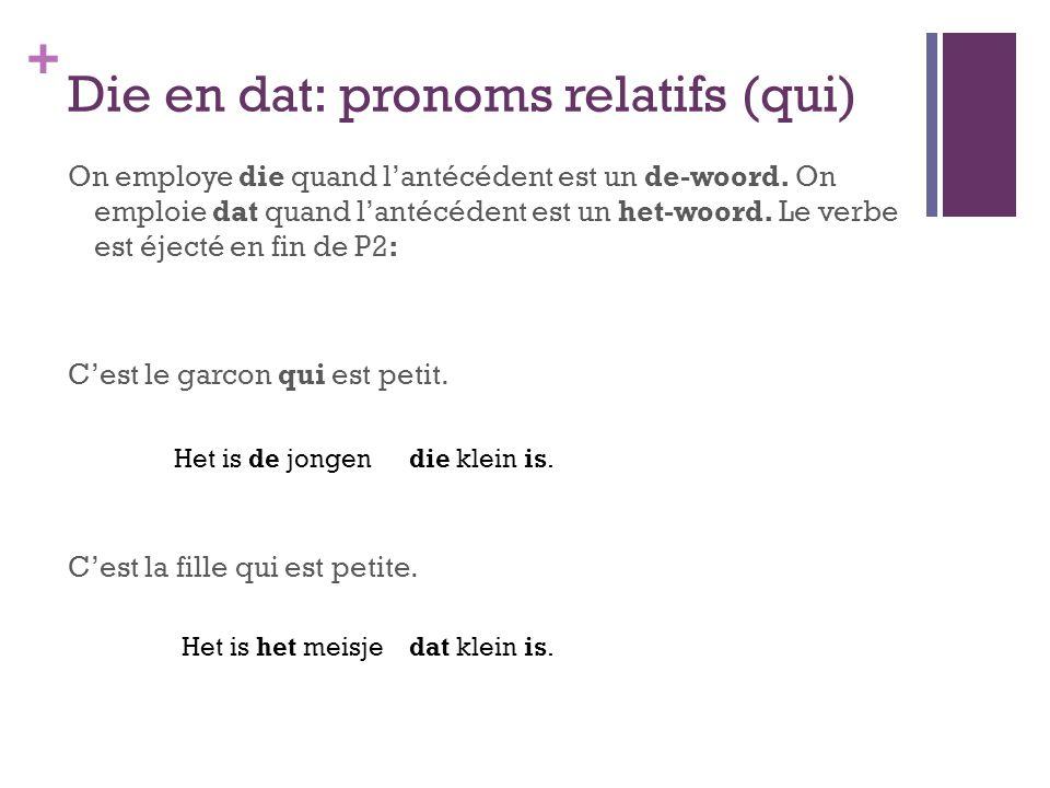 + Die en dat: pronoms relatifs (qui) On employe die quand l'antécédent est un de-woord. On emploie dat quand l'antécédent est un het-woord. Le verbe e