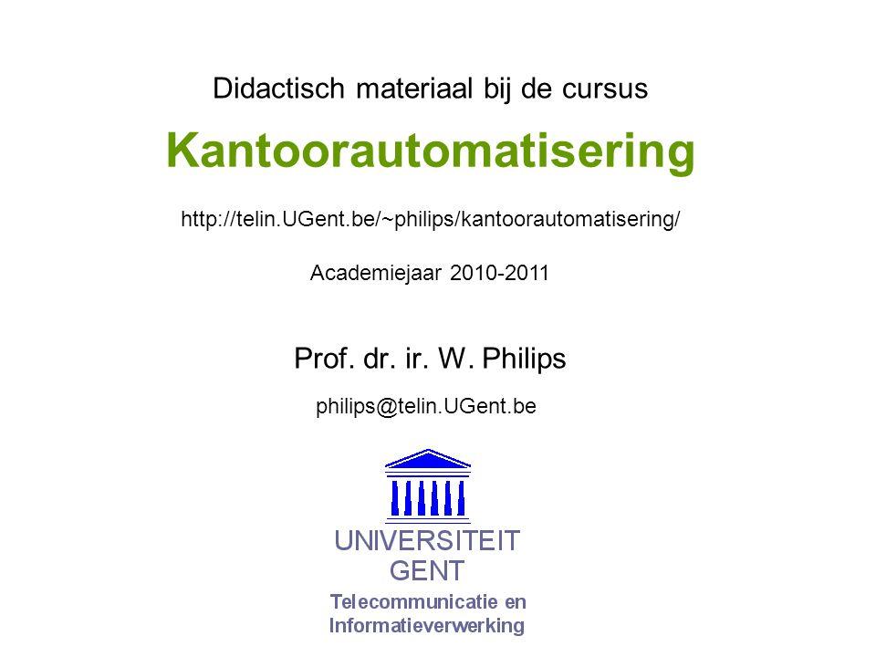 © W. Philips, Universiteit Gent, 2000-2011versie: 22/11/2010 09b. 12 Beeldcodering met wavelets…