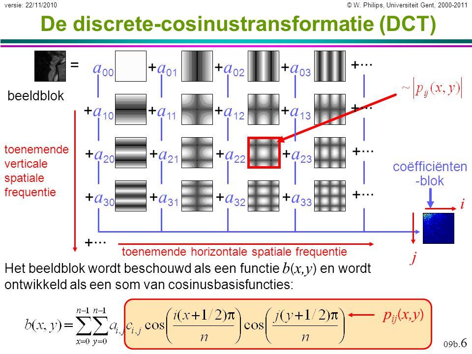 © W. Philips, Universiteit Gent, 2000-2011versie: 22/11/2010 09b. 6 p ij ( x,y ) De discrete-cosinustransformatie (DCT) Het beeldblok wordt beschouwd