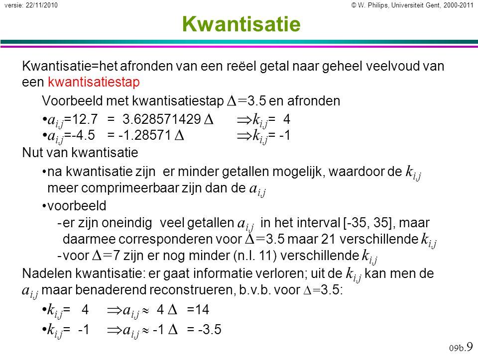 © W. Philips, Universiteit Gent, 2000-2011versie: 22/11/2010 09b. 9 Kwantisatie Kwantisatie=het afronden van een reëel getal naar geheel veelvoud van