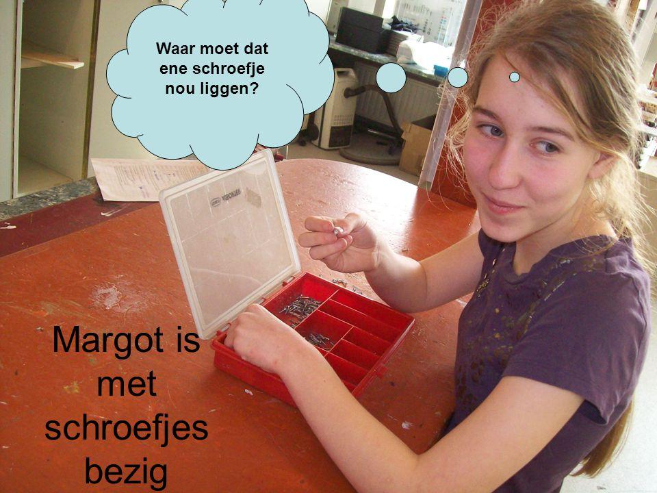 Waar moet dat ene schroefje nou liggen Margot is met schroefjes bezig