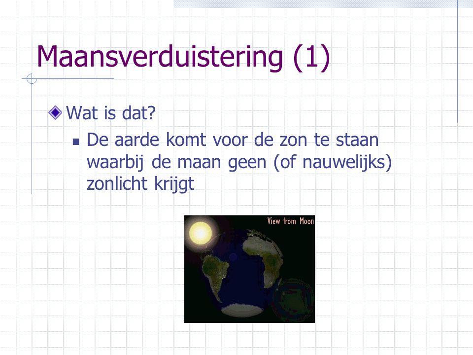 Maansverduistering (1) Wat is dat? De aarde komt voor de zon te staan waarbij de maan geen (of nauwelijks) zonlicht krijgt