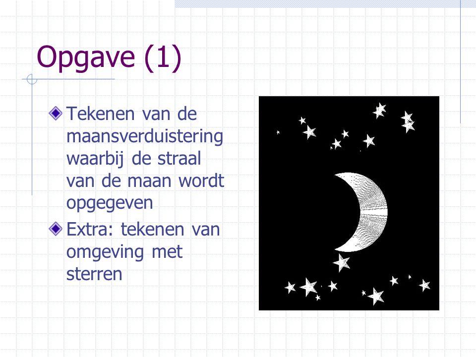 Opgave (1) Tekenen van de maansverduistering waarbij de straal van de maan wordt opgegeven Extra: tekenen van omgeving met sterren