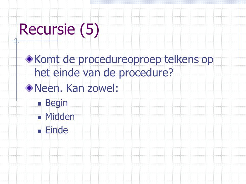 Recursie (5) Komt de procedureoproep telkens op het einde van de procedure? Neen. Kan zowel: Begin Midden Einde