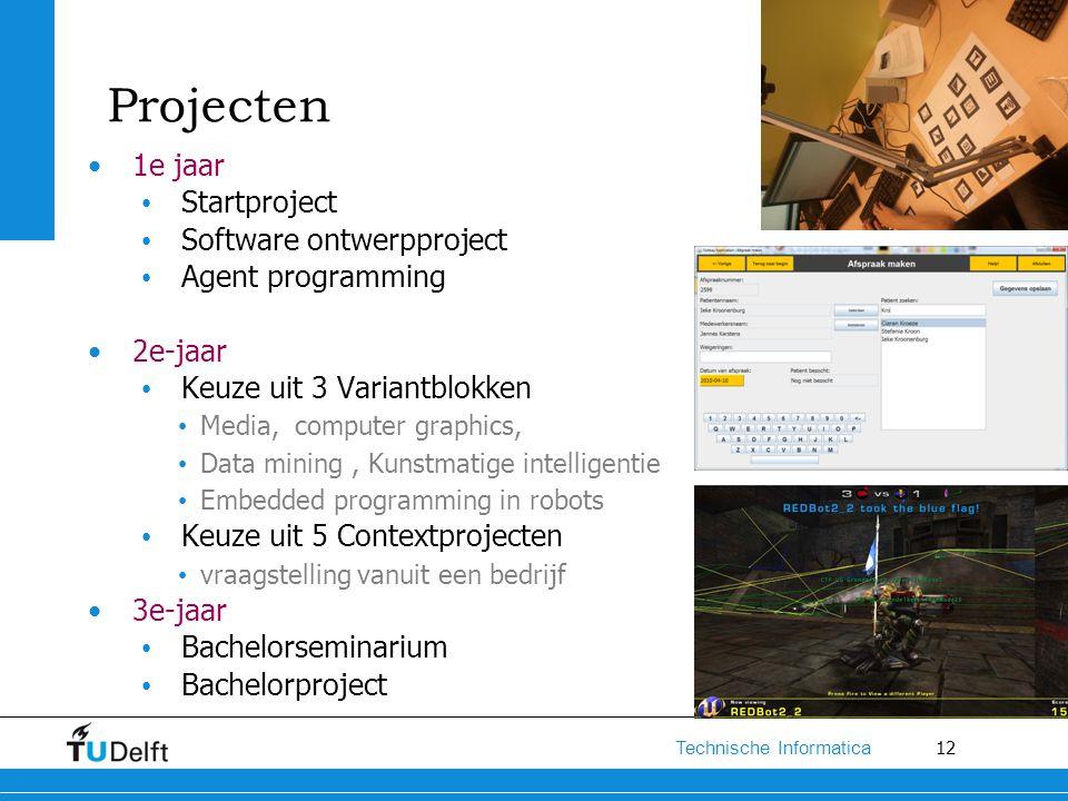 12 Technische Informatica Projecten 1e jaar Startproject Software ontwerpproject Agent programming 2e-jaar Keuze uit 3 Variantblokken Media, computer