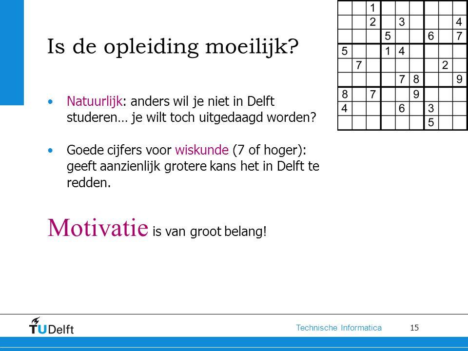 15 Technische Informatica Is de opleiding moeilijk? Natuurlijk: anders wil je niet in Delft studeren… je wilt toch uitgedaagd worden? Goede cijfers vo