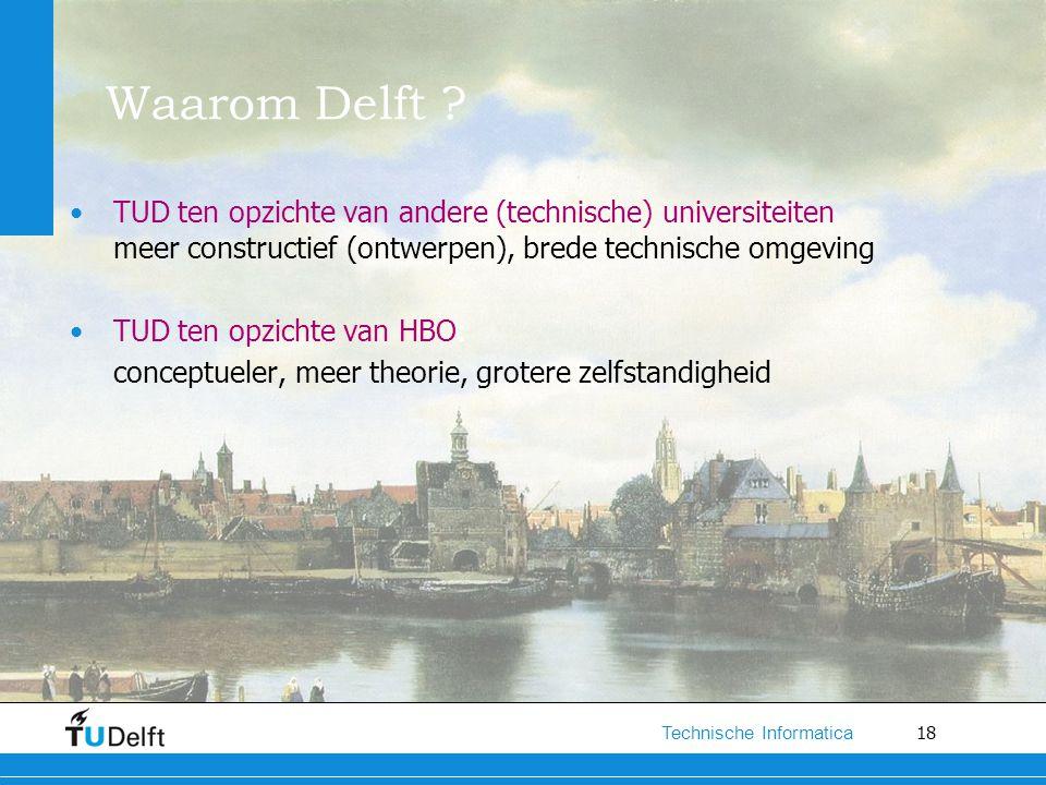 18 Technische Informatica Waarom Delft ? TUD ten opzichte van andere (technische) universiteiten meer constructief (ontwerpen), brede technische omgev