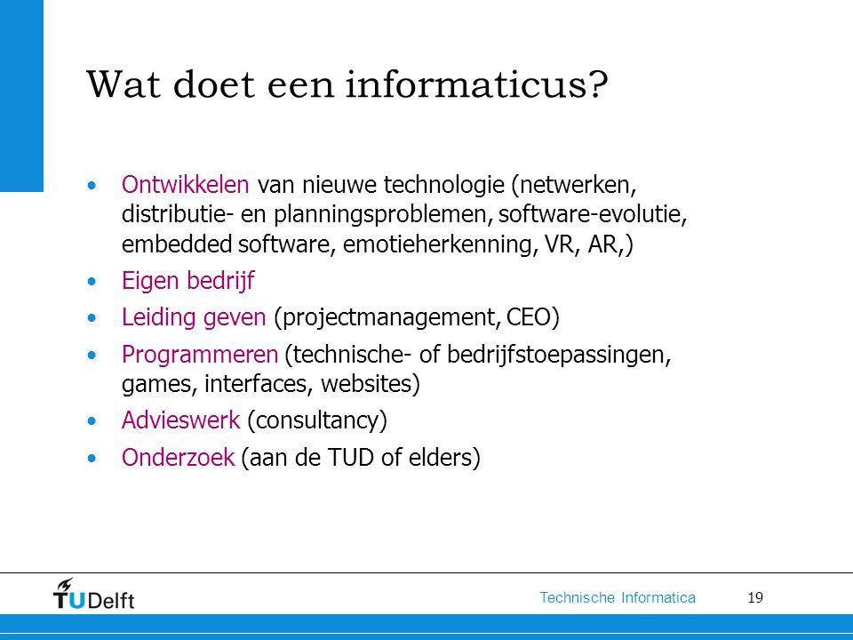 19 Technische Informatica Wat doet een informaticus? Ontwikkelen van nieuwe technologie (netwerken, distributie- en planningsproblemen, software-evolu
