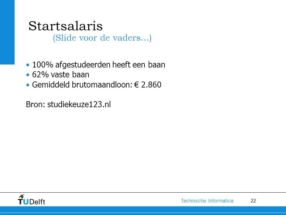 22 Technische Informatica Startsalaris 100% afgestudeerden heeft een baan 62% vaste baan Gemiddeld brutomaandloon: € 2.860 Bron: studiekeuze123.nl (Sl