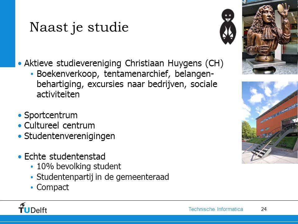 24 Technische Informatica Naast je studie Aktieve studievereniging Christiaan Huygens (CH) Boekenverkoop, tentamenarchief, belangen- behartiging, excu