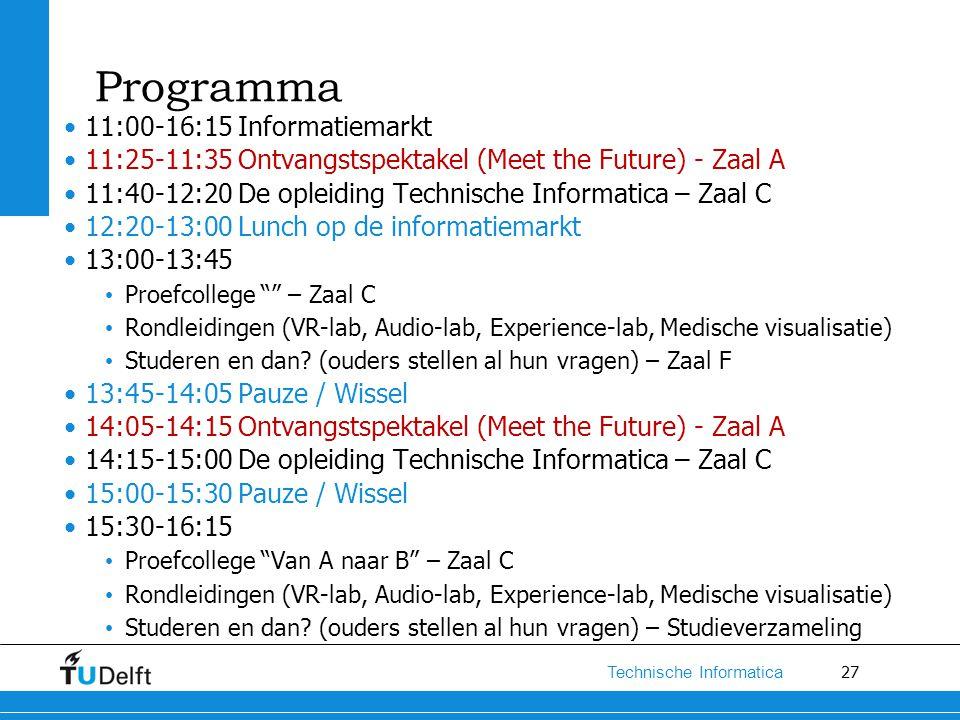 27 Technische Informatica Programma 11:00-16:15 Informatiemarkt 11:25-11:35 Ontvangstspektakel (Meet the Future) - Zaal A 11:40-12:20 De opleiding Tec