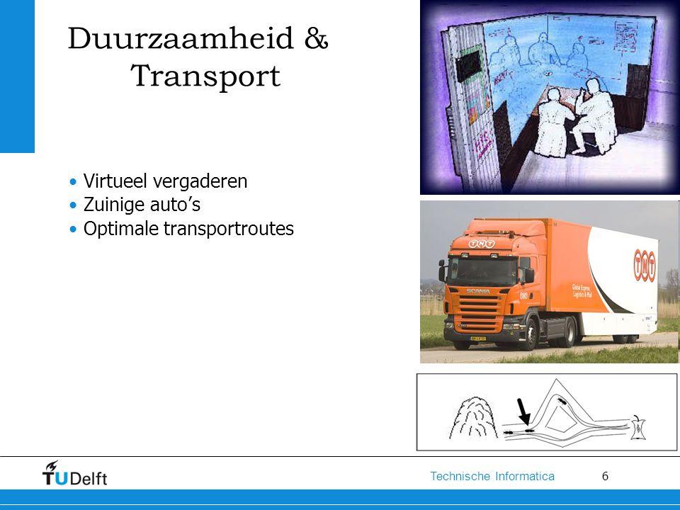 6 Technische Informatica Duurzaamheid & Transport Virtueel vergaderen Zuinige auto's Optimale transportroutes