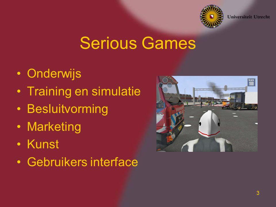 4 Waarom Games Gebruiken Games geven motivatie –Verhaallijn, uitdagingen, beloning Games kunnen zich aanpassen aan de vaardigheden van de spelen –Verminderd frustratie en verveling –FLOW uitdagingen vaardigheden Flow Frustratie Saai