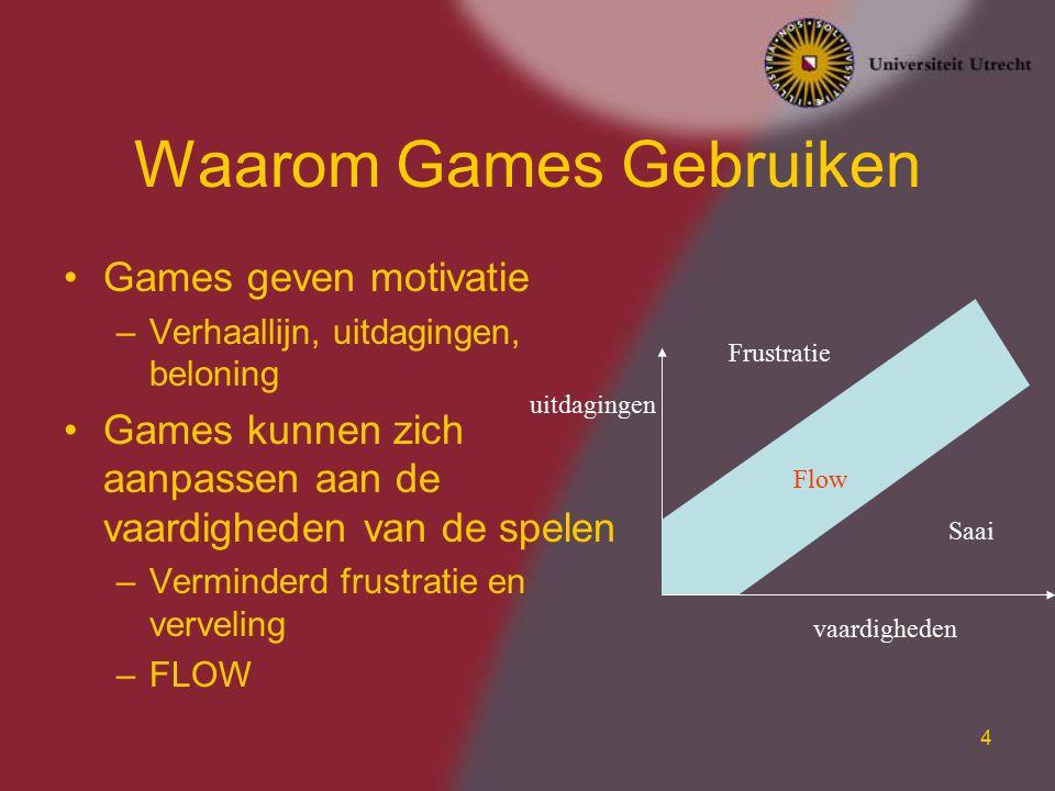 5 Waarom Games Gebruiken Games geven directe feedback op beslissingen en acties –Beter leerproces –Beter inzicht in gevolgen Games kunnen overal en altijd gespeeld worden –Gebruik van verloren uren –Thuis gebruik –Gevolg is dat meer tijd aan leerproces besteed wordt