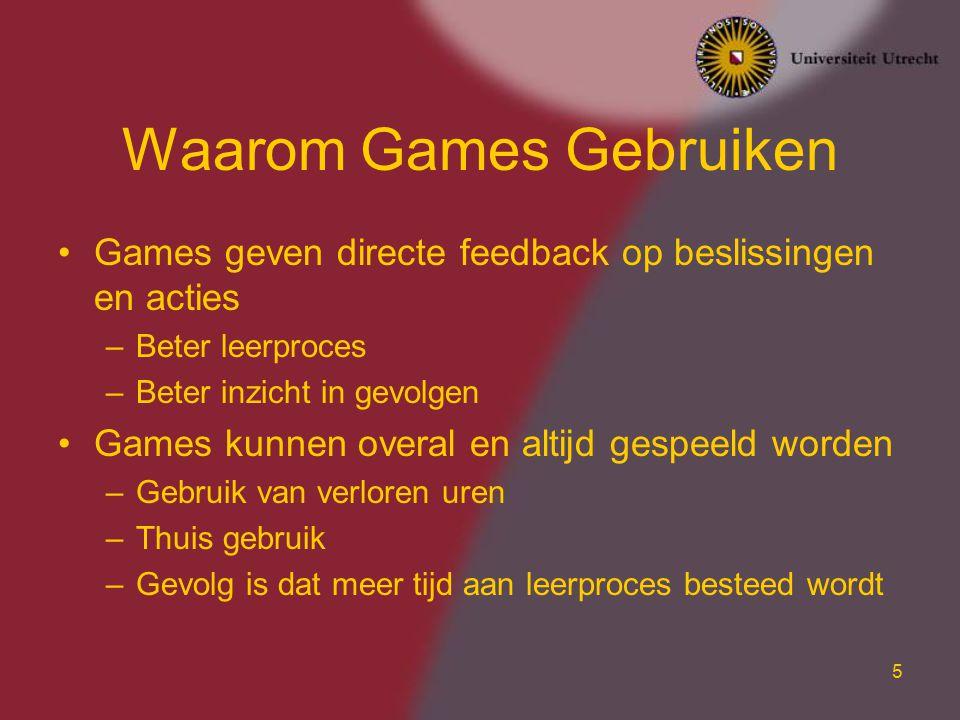 16 Onderzoek: AGS Center for Advanced Gaming and Simulation Partners –Universiteit Utrecht –TNO –Hogeschool voor de Kunsten Utrecht Organisatie –Virtueel centrum met centrale locatie in Utrecht –Ongeveer 80 medewerkers –Multidisciplinair –www.gameresearch.nlwww.gameresearch.nl GATE project –10 MEuro subsidie van overheid –Onderzoek, Kennistransfer, Pilots UGLI Dutch Game Factory Nederlandse Game Dagen