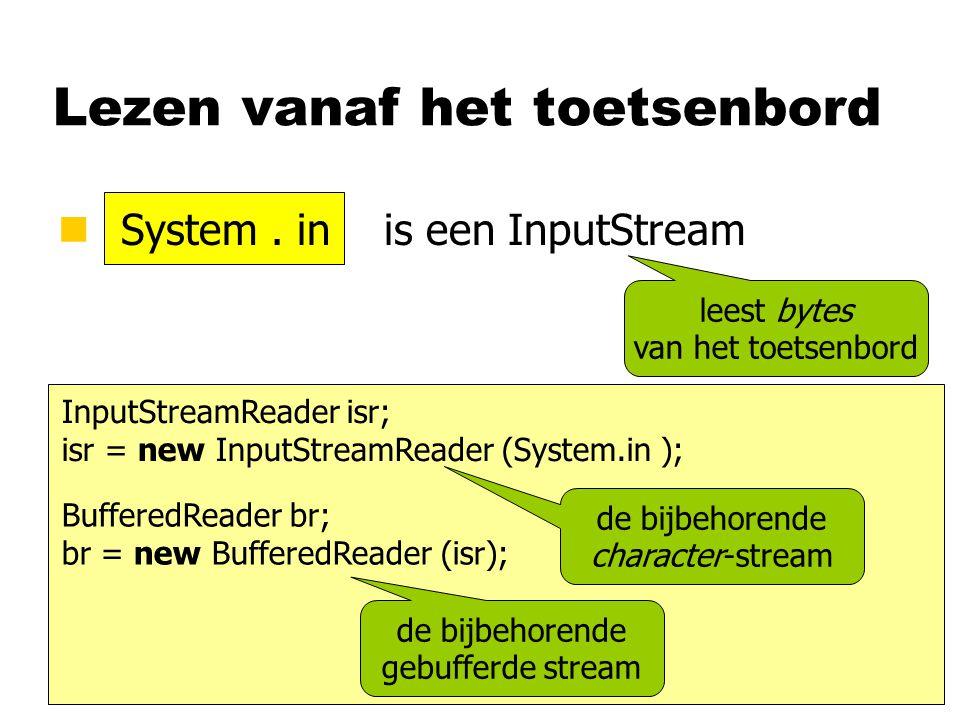 Lezen vanaf het toetsenbord n System. in is een InputStream InputStreamReader isr; isr = new InputStreamReader (System.in ); BufferedReader br; br = n