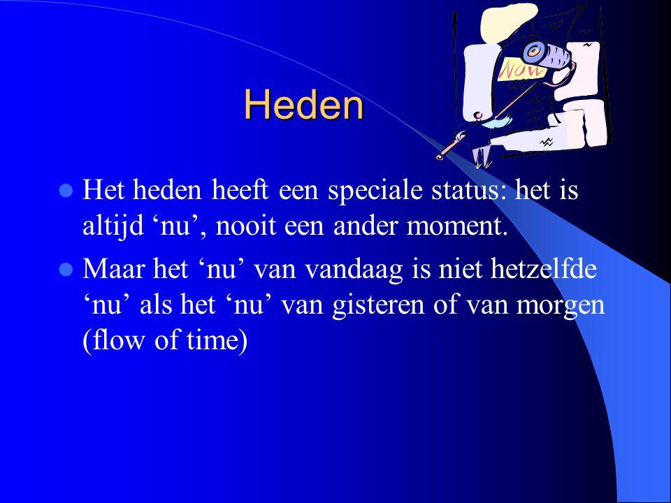 Heden Het heden heeft een speciale status: het is altijd 'nu', nooit een ander moment.