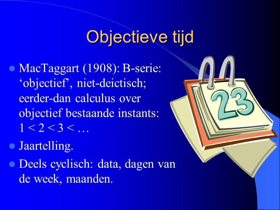 Objectieve tijd MacTaggart (1908): B-serie: 'objectief', niet-deictisch; eerder-dan calculus over objectief bestaande instants: 1 < 2 < 3 < … Jaartelling.