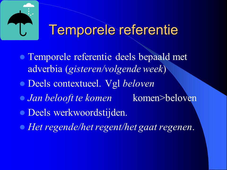 Temporele referentie Temporele referentie deels bepaald met adverbia (gisteren/volgende week) Deels contextueel.