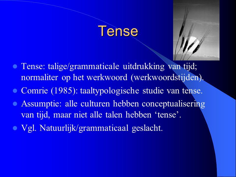 Tense Tense: talige/grammaticale uitdrukking van tijd; normaliter op het werkwoord (werkwoordstijden).