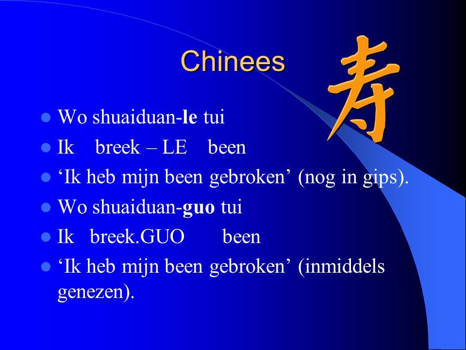 Chinees Wo shuaiduan-le tui Ik breek – LE been 'Ik heb mijn been gebroken' (nog in gips).