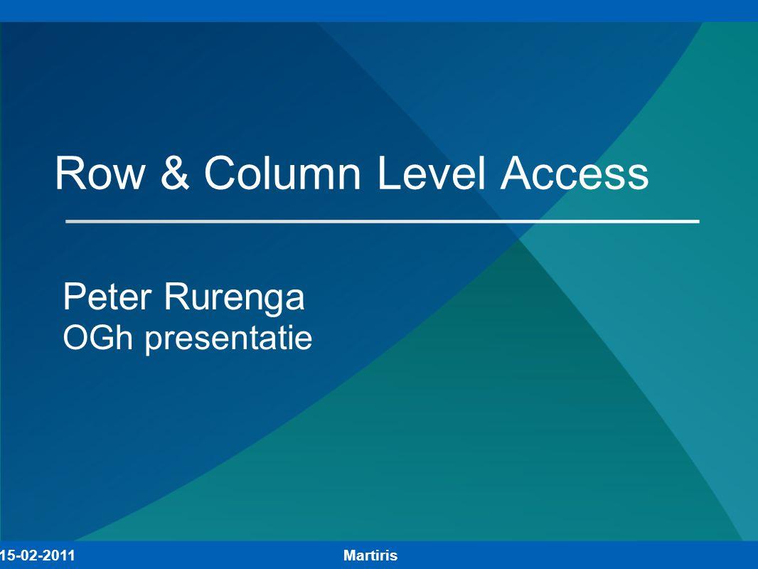 Onderwerpen Waarom Row en/of Colum Level Security.