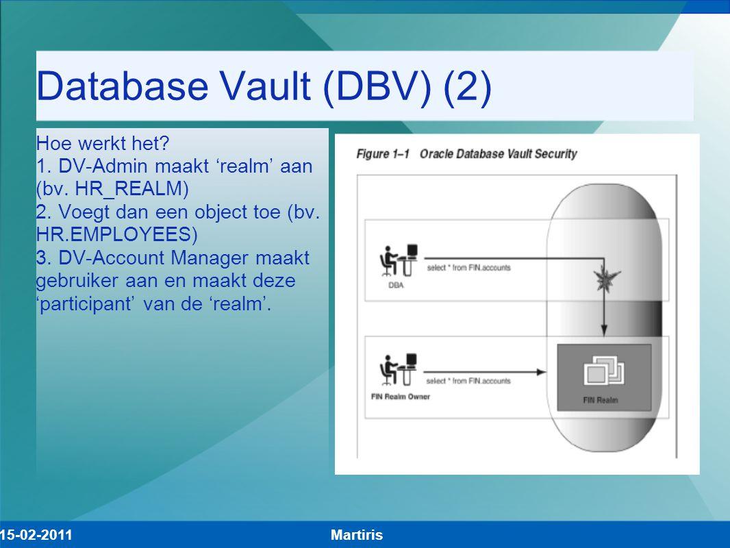 Database Vault (DBV) (2) Hoe werkt het? 1. DV-Admin maakt 'realm' aan (bv. HR_REALM) 2. Voegt dan een object toe (bv. HR.EMPLOYEES) 3. DV-Account Mana