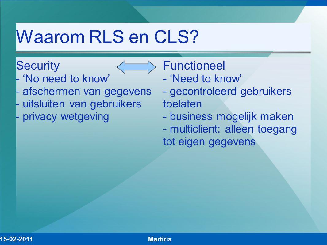 Waarom RLS en CLS? Security - 'No need to know' - afschermen van gegevens - uitsluiten van gebruikers - privacy wetgeving Functioneel - 'Need to know'