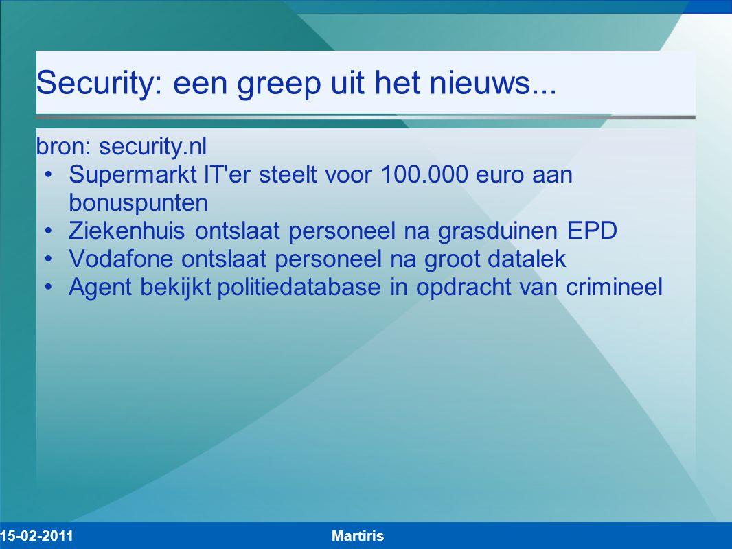 Security: een greep uit het nieuws... bron: security.nl Supermarkt IT'er steelt voor 100.000 euro aan bonuspunten Ziekenhuis ontslaat personeel na gra